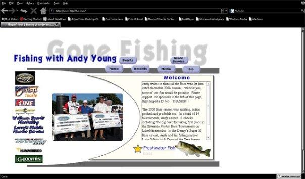 Very early state of flippinfool.com, home to Professional Bass Fisherman Andy Young