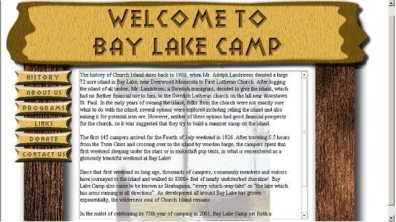 Prototype of BayLakeCamp.com, created for First Lutheran Church circa 2006, now defunct